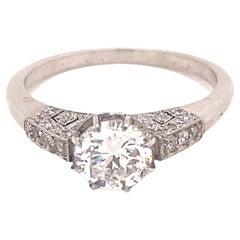 Vintage .91 Carat and Pave Diamond Platinum Engagement Ring