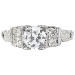Vintage 0.94 Carat Diamond & 18 Karat White Gold Engagement Ring GIA