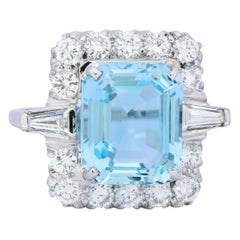 Vintage 9.58 Carat Aquamarine Diamond 14 Karat White Gold Cluster Ring