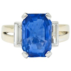 Vintage 9.72 Carat No Heat Ceylon Sapphire Diamond 18 Karat White Gold Ring