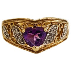 Vintage 9ct Gold ring set with Heart Shaped Amethyst and diamonds