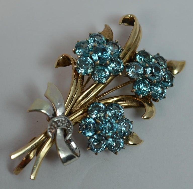 Women's Vintage 9 Carat Rose Gold and Platinum Natural Zircon Floral Spray Brooch For Sale