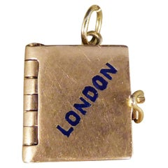 Vintage 9ct Rose Gold London Opening Guide Book Charm