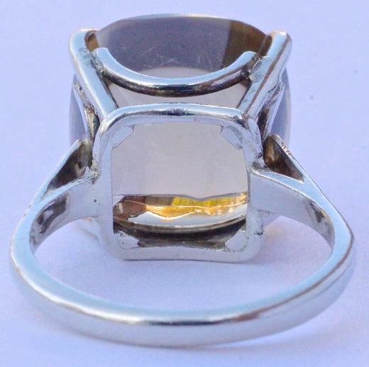 Vintage 9ct White Gold and Smoky Quartz Ring
