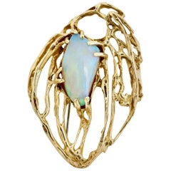 Vintage 9 Karat Yellow Gold Opal Modernist Freeform Brooch Pin