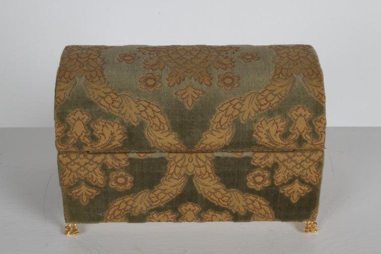 Vintage A. Antinori Roma Italy Jacquard Velvet Jewelry Box Casket Storage Chest For Sale 2