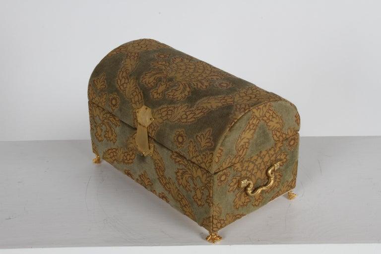 Vintage A. Antinori Roma Italy Jacquard Velvet Jewelry Box Casket Storage Chest For Sale 3