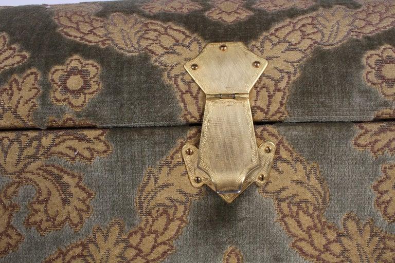 Vintage A. Antinori Roma Italy Jacquard Velvet Jewelry Box Casket Storage Chest For Sale 5