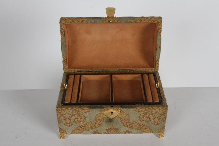 Vintage A. Antinori Roma Italy Jacquard Velvet Jewelry Box Casket Storage Chest For Sale 7