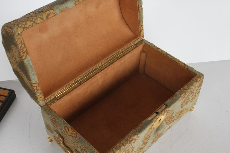 Vintage A. Antinori Roma Italy Jacquard Velvet Jewelry Box Casket Storage Chest For Sale 8