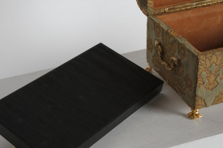 Vintage A. Antinori Roma Italy Jacquard Velvet Jewelry Box Casket Storage Chest For Sale 11