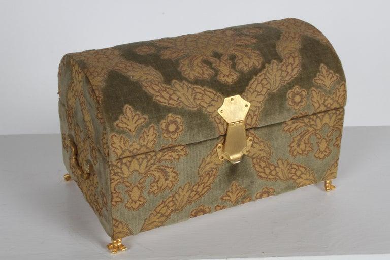 Hollywood Regency Vintage A. Antinori Roma Italy Jacquard Velvet Jewelry Box Casket Storage Chest For Sale