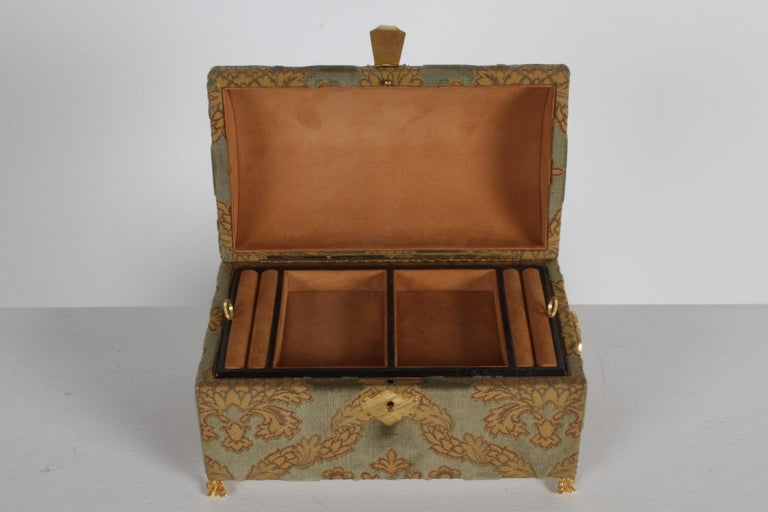 Italian Vintage A. Antinori Roma Italy Jacquard Velvet Jewelry Box Casket Storage Chest For Sale