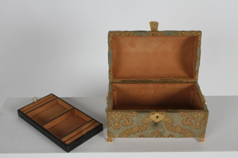 Plated Vintage A. Antinori Roma Italy Jacquard Velvet Jewelry Box Casket Storage Chest For Sale