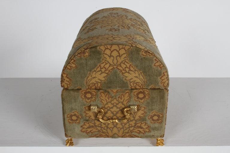 Mid-20th Century Vintage A. Antinori Roma Italy Jacquard Velvet Jewelry Box Casket Storage Chest For Sale