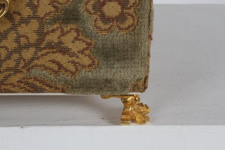 Vintage A. Antinori Roma Italy Jacquard Velvet Jewelry Box Casket Storage Chest For Sale 1