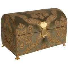 Vintage A. Antinori Roma Italy Jacquard Velvet Jewelry Box Casket Storage Chest
