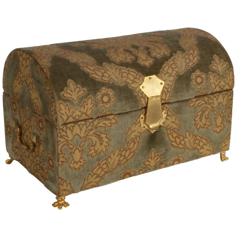 Vintage A. Antinori Roma Italy Jacquard Velvet Jewelry Box Casket Storage Chest For Sale