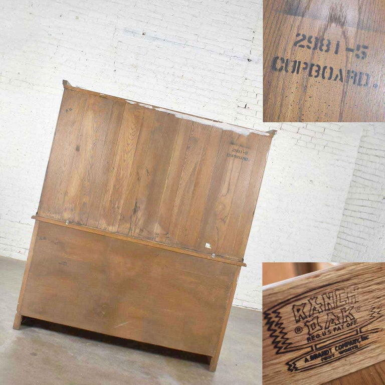 Vintage A. Brandt Ranch Oak Sideboard China Hutch Cabinet Western Rustic For Sale 5
