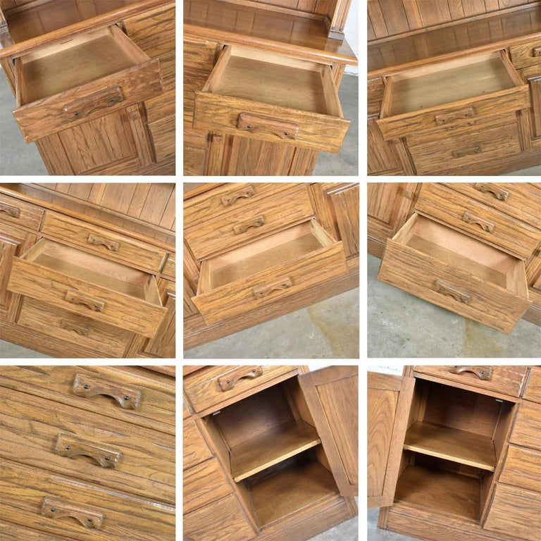 Vintage A. Brandt Ranch Oak Sideboard China Hutch Cabinet Western Rustic For Sale 6