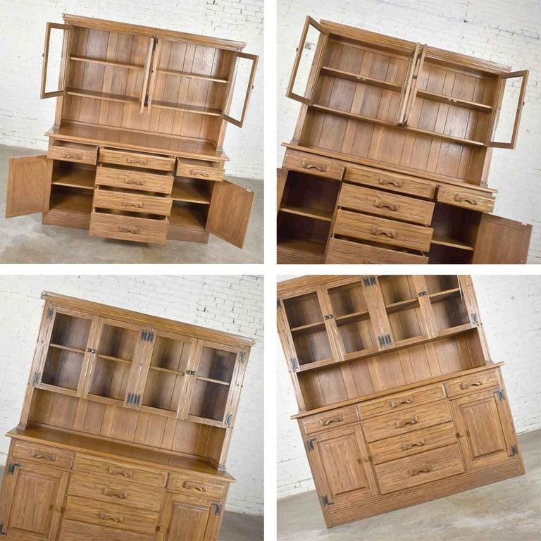 Vintage A. Brandt Ranch Oak Sideboard China Hutch Cabinet Western Rustic For Sale 8