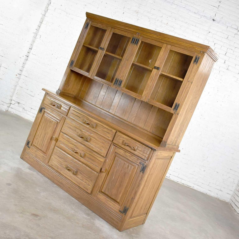 American Vintage A. Brandt Ranch Oak Sideboard China Hutch Cabinet Western Rustic For Sale