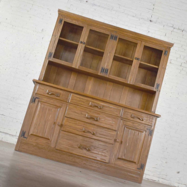 20th Century Vintage A. Brandt Ranch Oak Sideboard China Hutch Cabinet Western Rustic For Sale