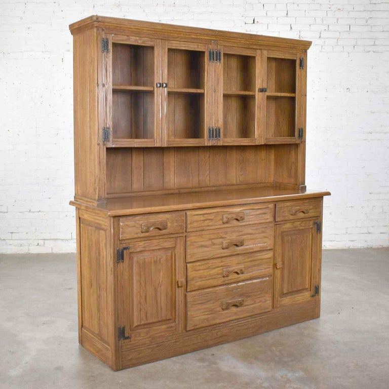 Vintage A. Brandt Ranch Oak Sideboard China Hutch Cabinet Western Rustic For Sale 1