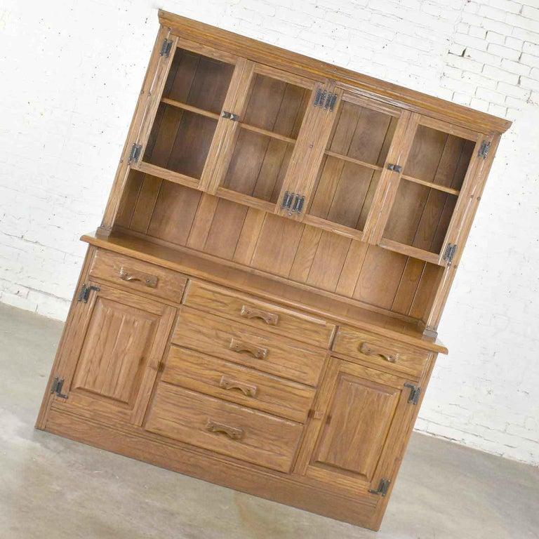 Vintage A. Brandt Ranch Oak Sideboard China Hutch Cabinet Western Rustic For Sale 4