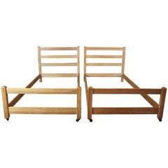 Vintage a Brandt Ranch Oak Twin Bed Set Ladder Bunk or Trundle Beds Southwestern