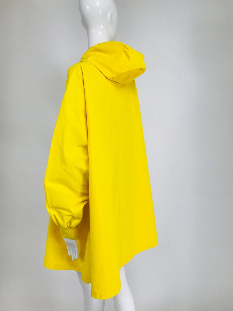 Women's or Men's Vintage A Line Anne Klein Bright Yellow A Line Zip Front Jacket with Hood  For Sale
