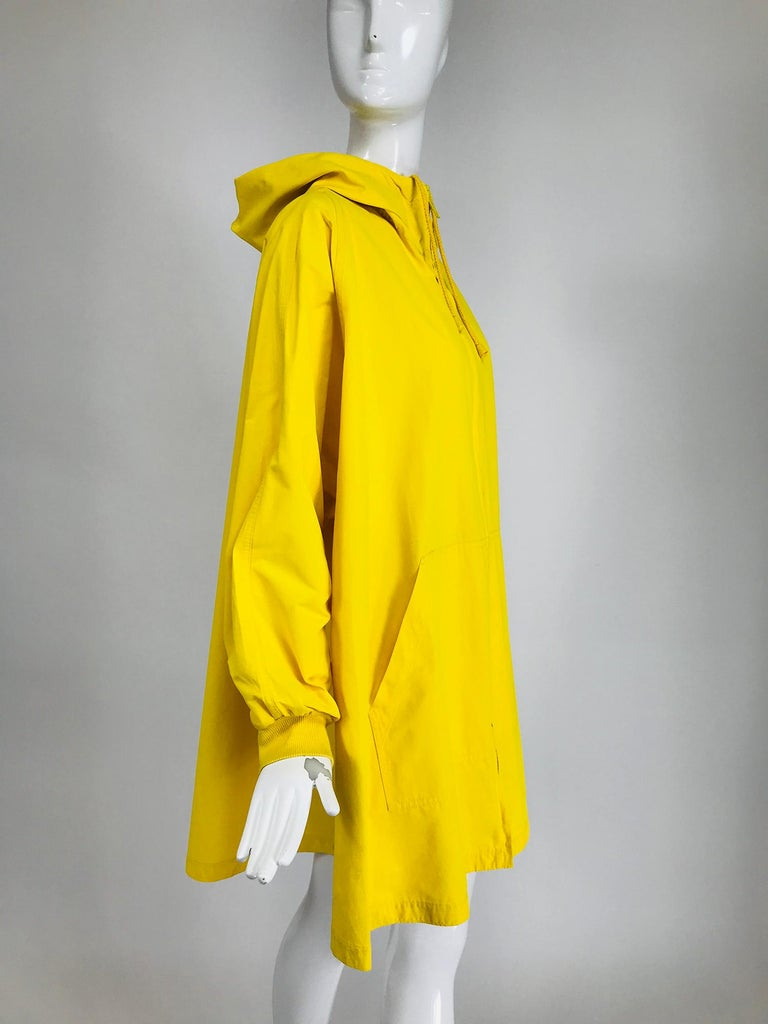 Vintage A Line Anne Klein Bright Yellow A Line Zip Front Jacket with Hood  For Sale 3