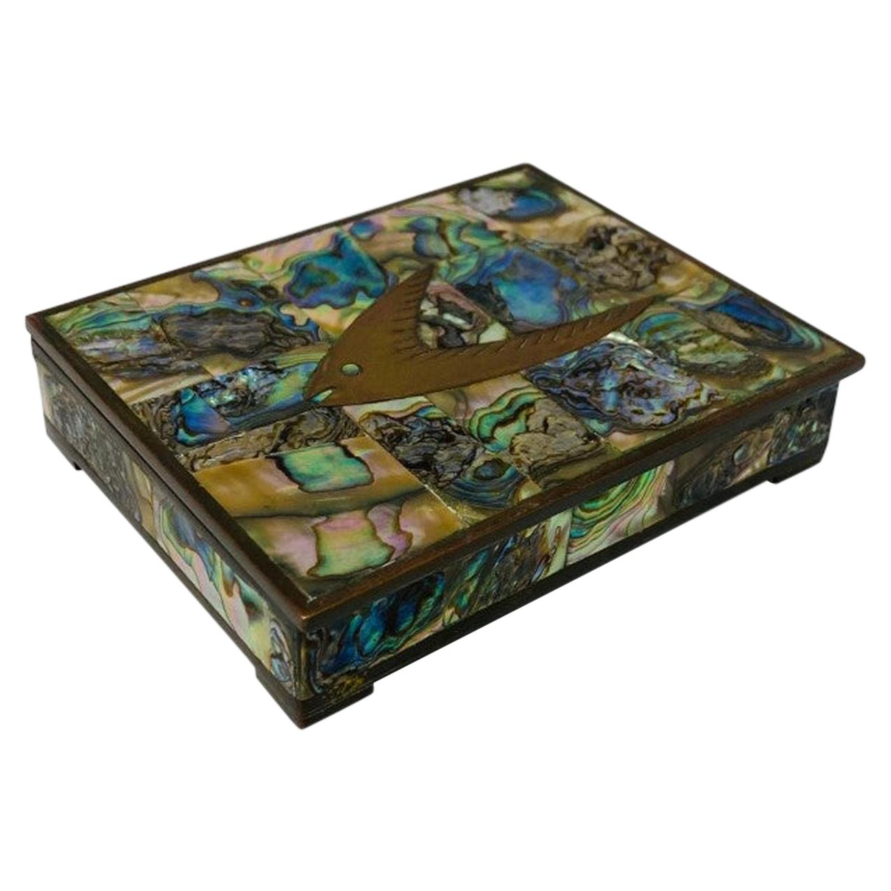 Vintage Abalone and  Brass Decorative Box Midcentury