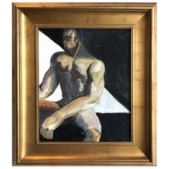 Vintage Abstract Black Male Nude Art Study Oil Painting