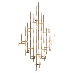 Vintage Abstract Brutalist Candle Wall Sconce Sculpture