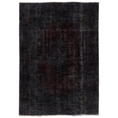 Vintage Abstract Carpet, Handmade Turkish Rug Over-Dyed in Black Color