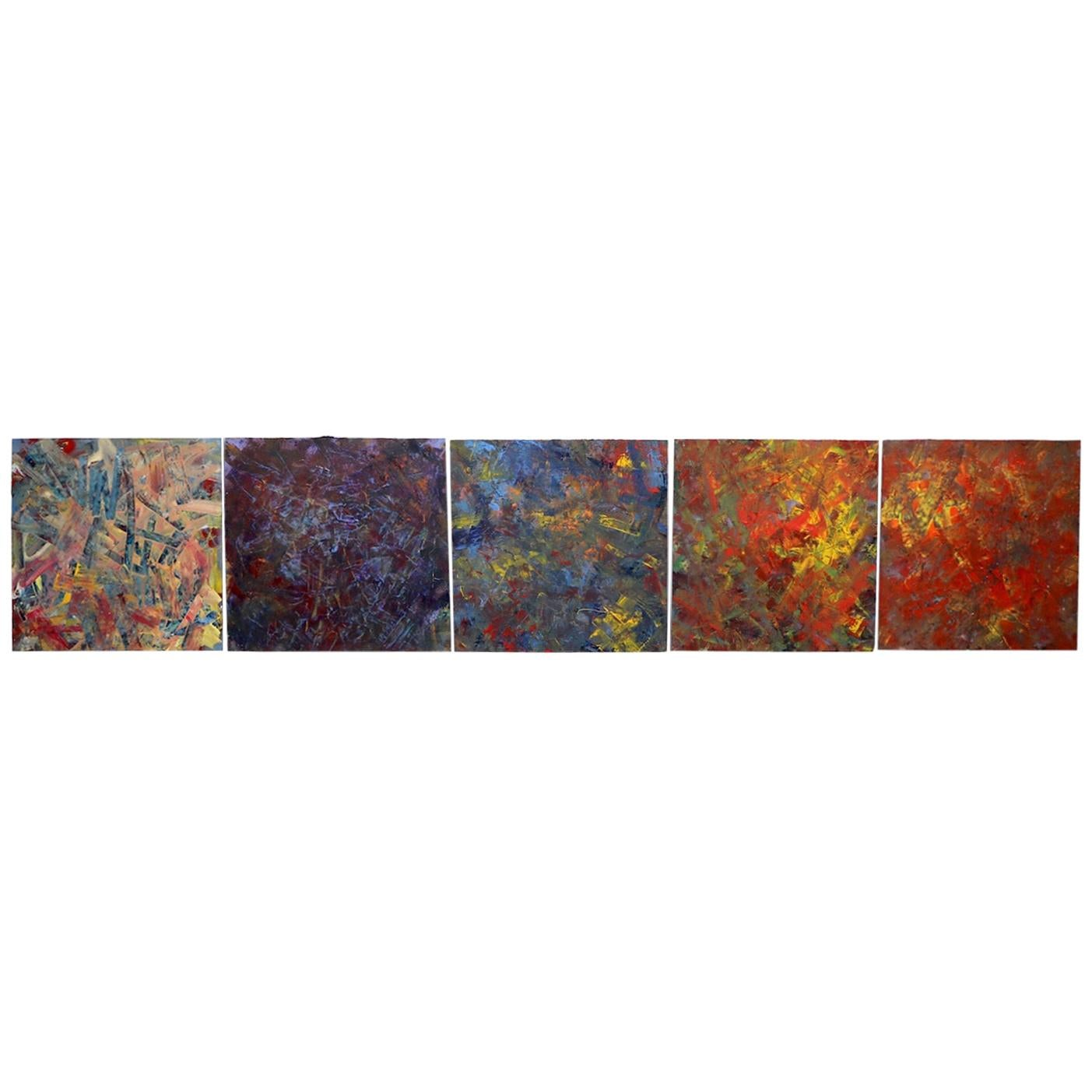 Vintage Abstract Expressionist Oil Paintings on Masonite