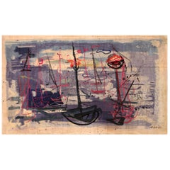 Vintage Abstract Expressionist Rug. Size: 8 ft. 8 in x 14 ft. 10 in