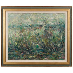 Vintage Abstract Impressionist Landscape Painting by Armand Wargny, circa 1940