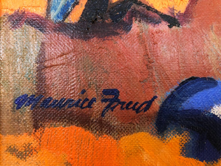Vintage Abstract Maurice Freed Oil Painting In Good Condition For Sale In Miami, FL
