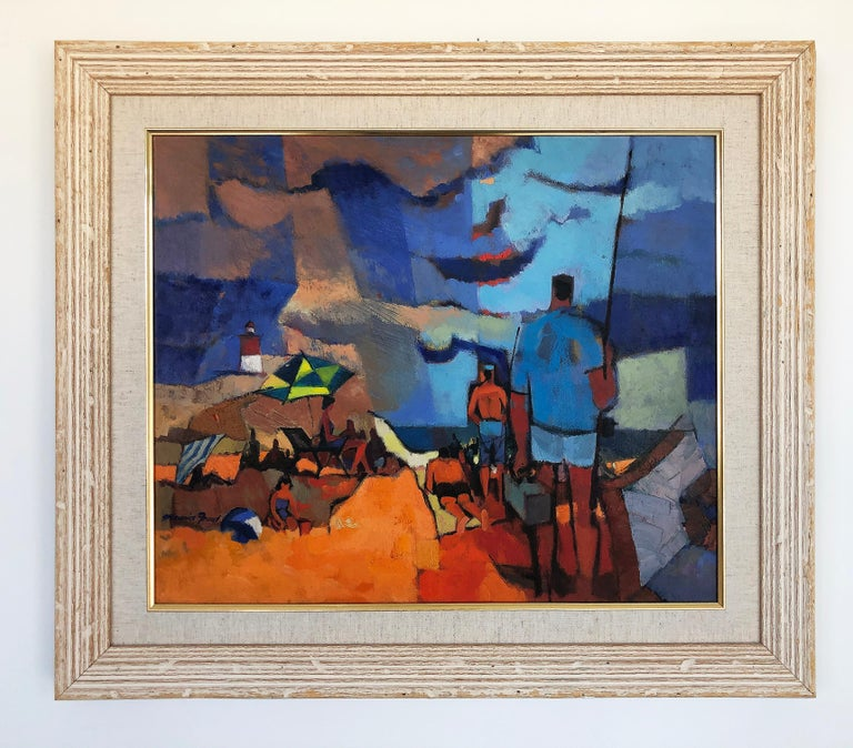 Wood Vintage Abstract Maurice Freed Oil Painting For Sale