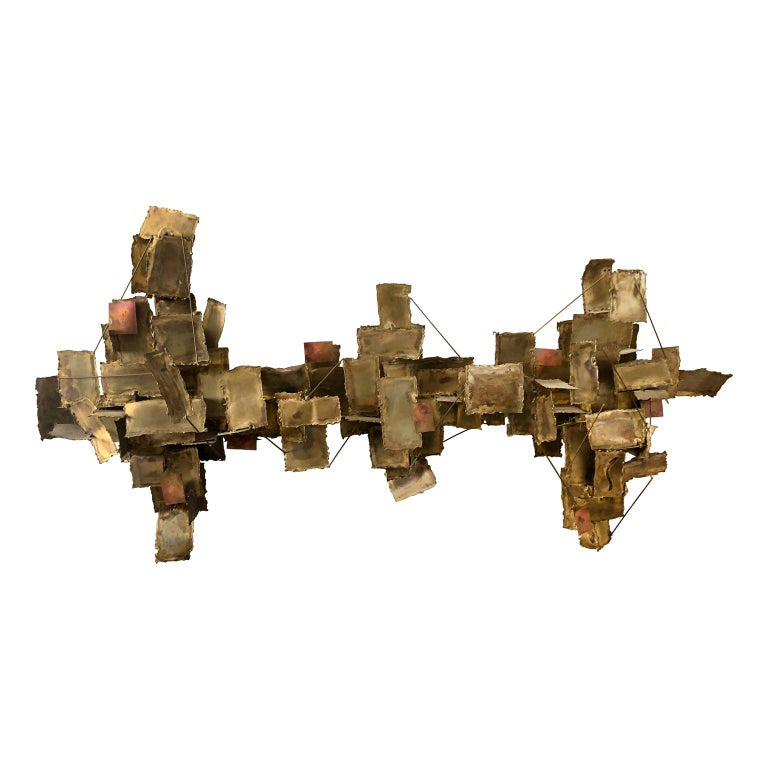 Vintage Abstract Mixed Metal Wall Sculpture For Sale