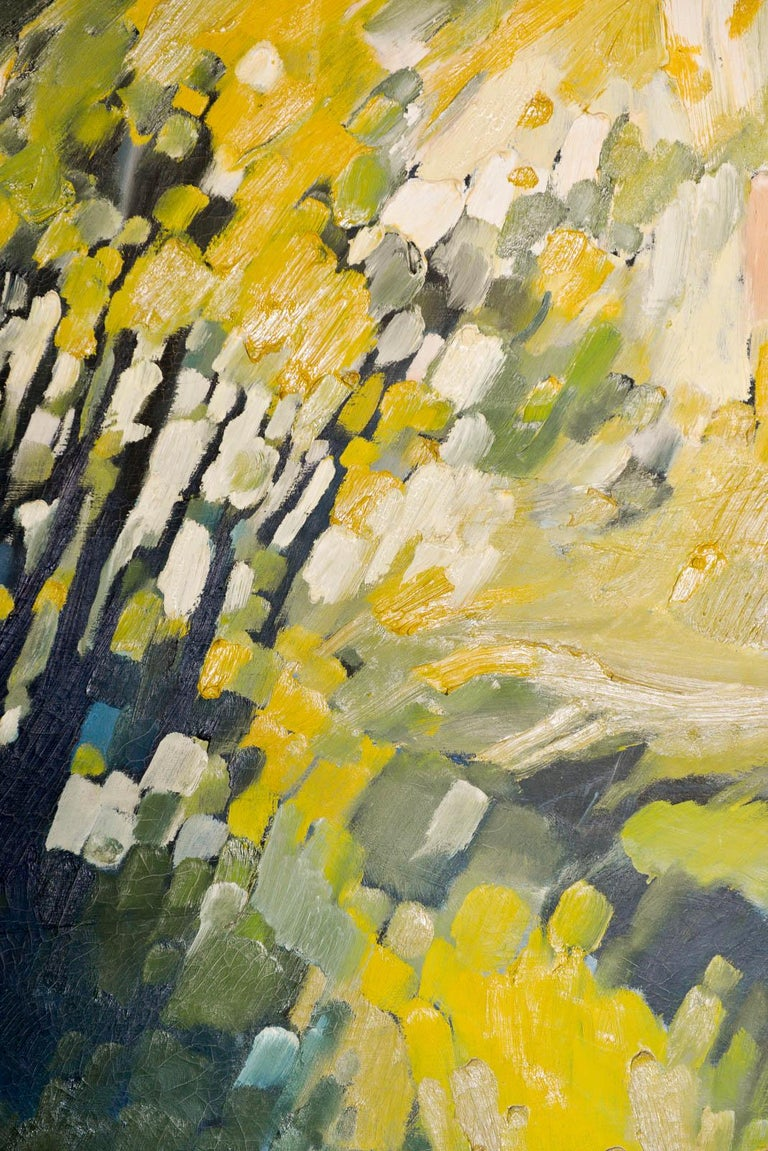 Vintage abstract oil on canvas by John Nelson Gallery Pasadena, CA, 1979. Beautiful tones of yellows and greens, this original oil on canvas measures 30