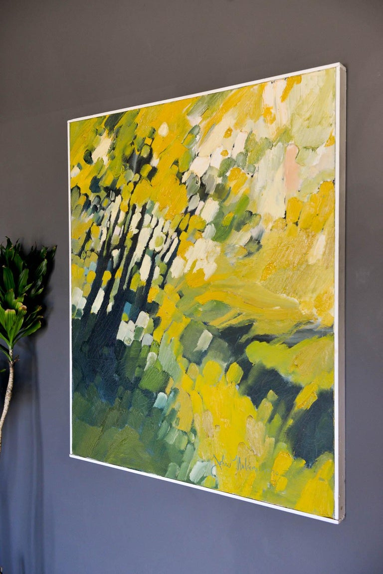 Mid-Century Modern Vintage Abstract Oil on Canvas by John Nelson Gallery Pasadena, CA, 1979 For Sale