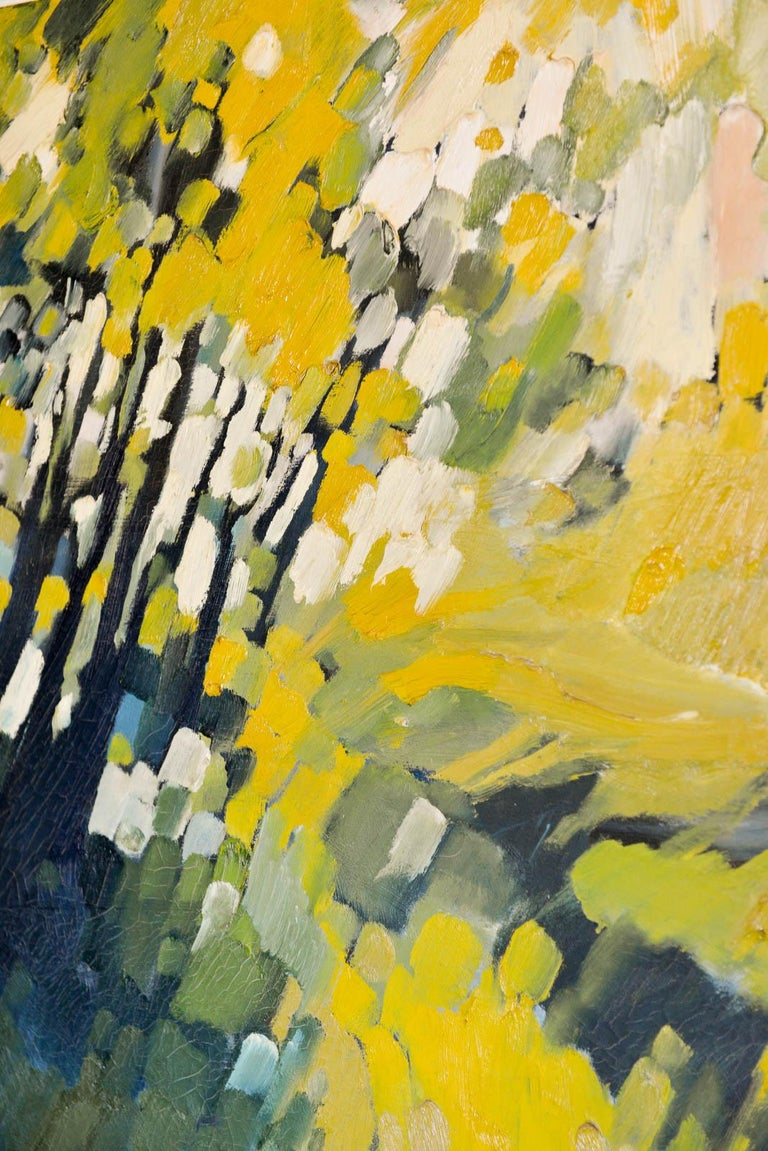 American Vintage Abstract Oil on Canvas by John Nelson Gallery Pasadena, CA, 1979 For Sale