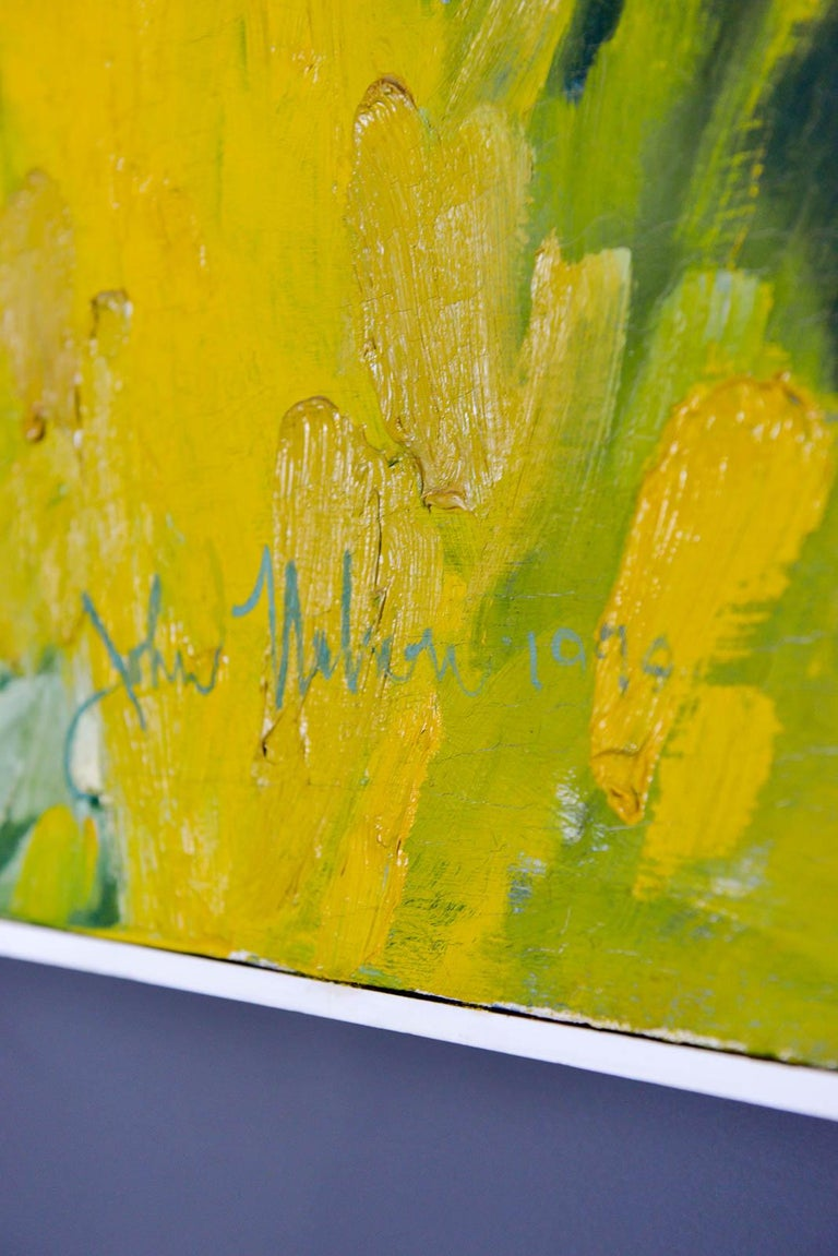 Vintage Abstract Oil on Canvas by John Nelson Gallery Pasadena, CA, 1979 For Sale 2