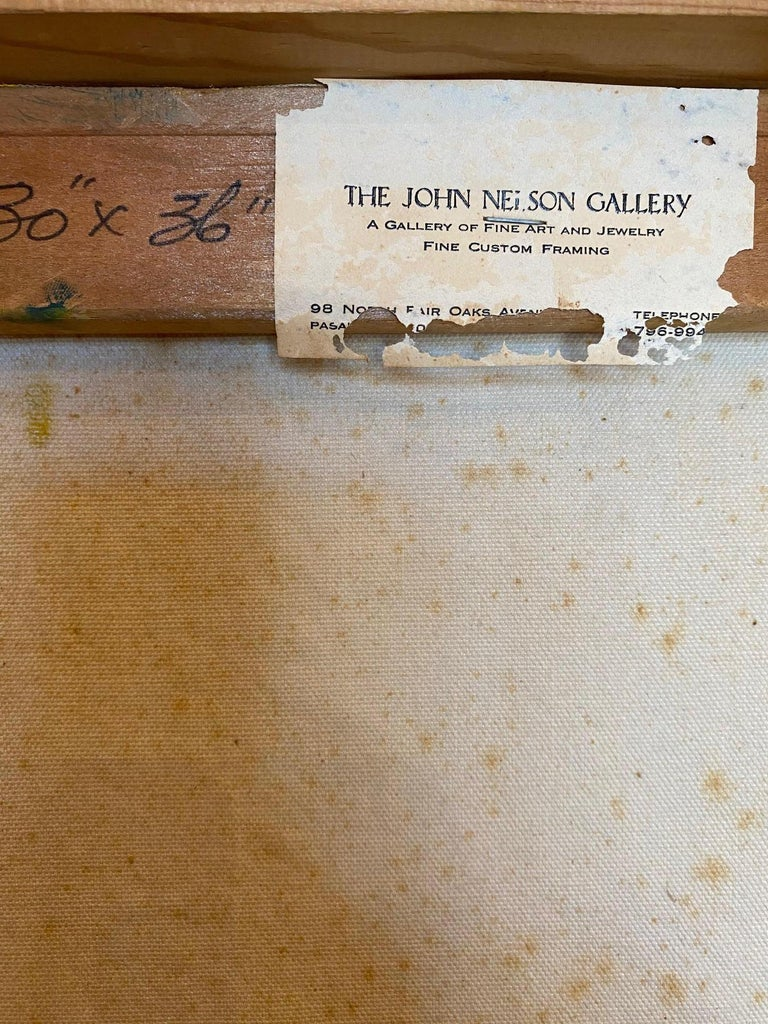 Vintage Abstract Oil on Canvas by John Nelson Gallery Pasadena, CA, 1979 For Sale 3