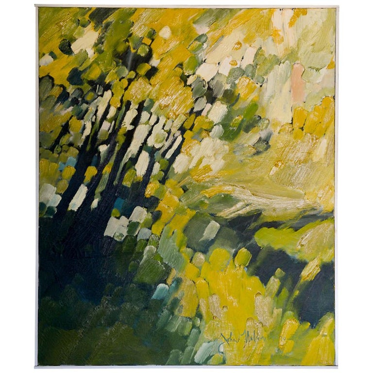 Vintage Abstract Oil on Canvas by John Nelson Gallery Pasadena, CA, 1979 For Sale
