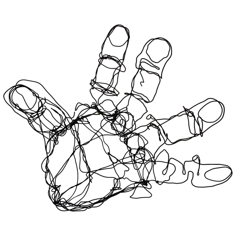 Vintage Abstract Wire Hand Sculpture For Sale