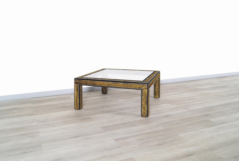 Vintage Acid Etched Brass Coffee Table by Bernard Rohne for Mastercraft For Sale 4